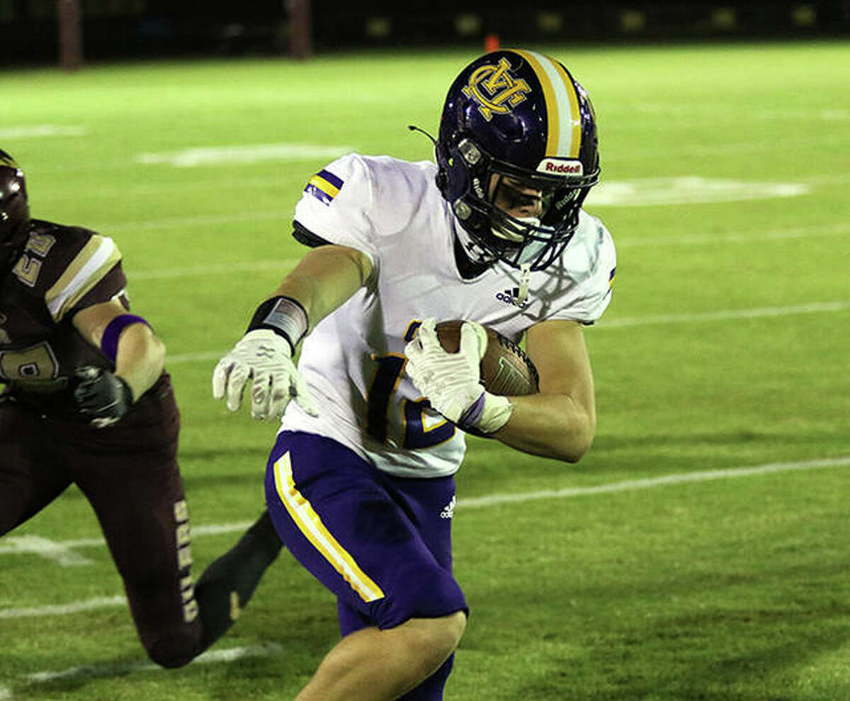 CM receiver Luke Parmentier caught touchdown passes of 15 and 12 yards Friday night, but the Eagles fell to Mascoutah at Hauser Field, 60-28.