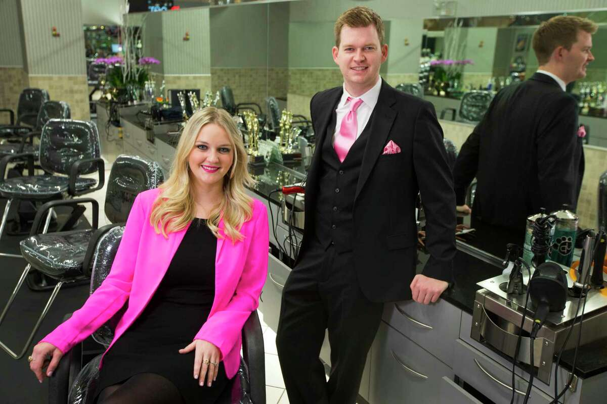 Meagan McCormack, left, and her brother Johnny McCormack, president, pose for a portrait at Visible Changes in the Galleria on Wednesday, Oct. 8, 2014, in Houston. Maryanne McCormack began with one salon in 1977 at the Greenspoint Mall in Houston. The company has grown to include 17 salons across the state of Texas. ( Brett Coomer / Houston Chronicle )