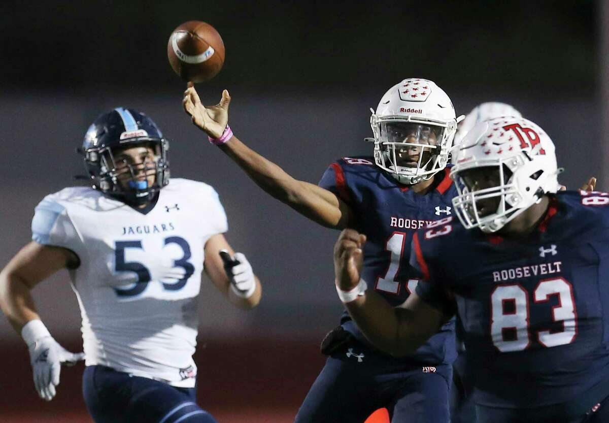 Roosevelt quarterback Bryan Rhoder (19) makes a throw against Johnson during their football game at Heroes Stadium on Friday, Oct. 8, 2021.