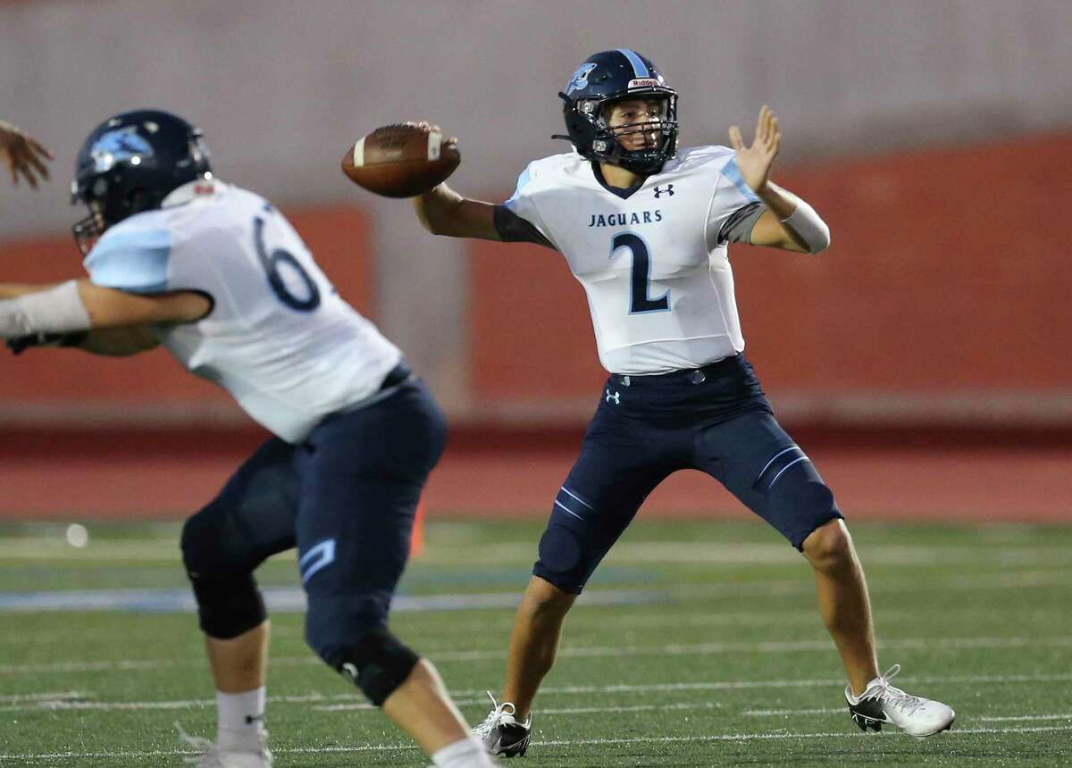Johnson quarterback Cruz Kiran (02) rears back for a pass against Roosevelt during their football game at Heroes Stadium on Friday, Oct. 8, 2021.
