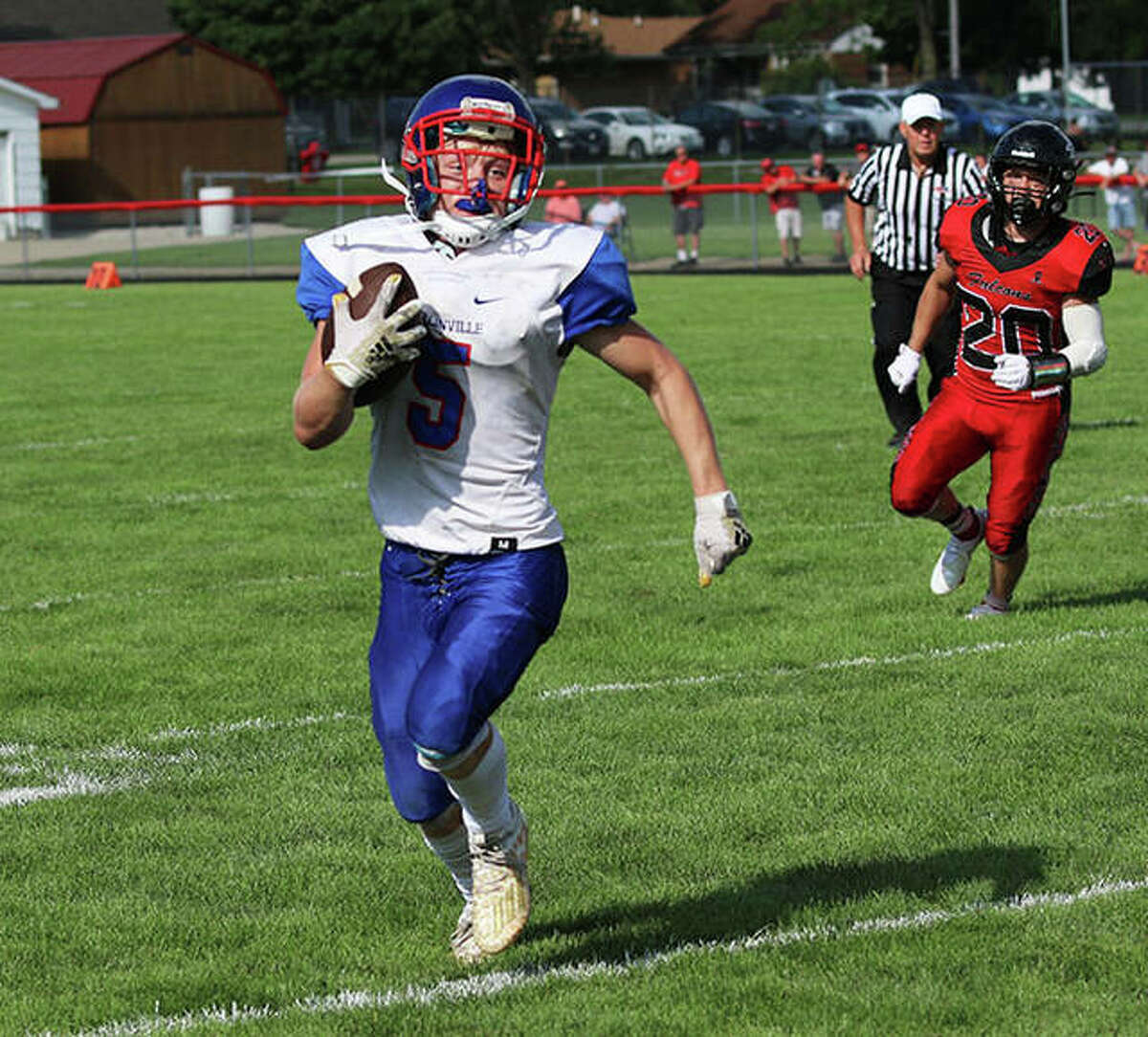 Carlinville's Mason Patton scored three touchdowns and helped the Cavaliers to a 48-0 South Central Conference victory over Litchfield Friday night in Carlinville. He is shown in action at Gibson City earlier this season.
