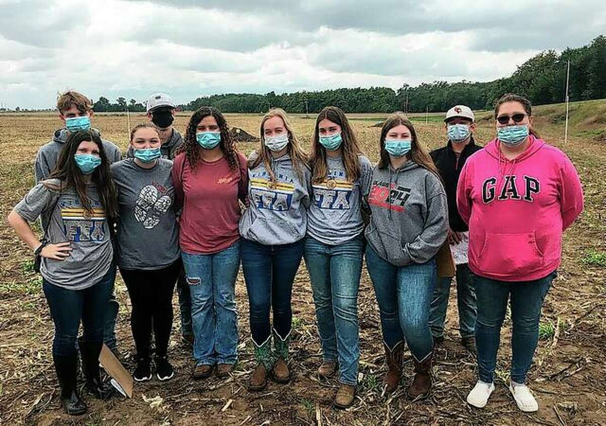Members of the Virginia FFA Land Use (Soils) Career Development Event team recently competed in the Section 12 Land Use (Soils) Career Development event, placing sixth overall. The competition involves agricultural land-use practices and students evaluating soil pits to determine soil properties. The team includes Izzy Garner (front row, from left), Mia Minor, Kylie Stock, Devin Cave, Emma Lyons, Natalie Force, Delaney Turner, Evan Bell (back row, from left), Steven Reynolds and Jack Cox.