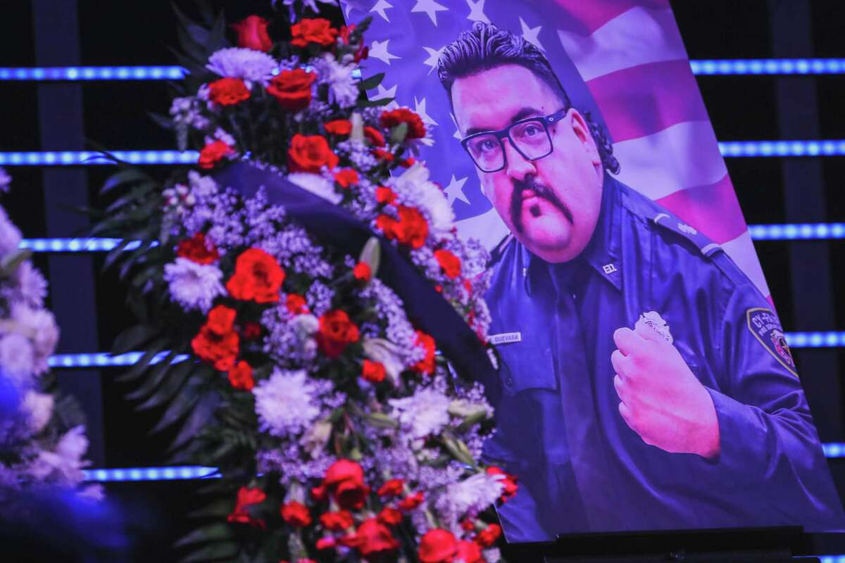 Family, friends and first responders gathered Thursday, Oct. 7, 2021, at Community of Faith Church in Hockley to honor the life of Cy-Fair Fire Department Driver Operator Hugo Guevara.