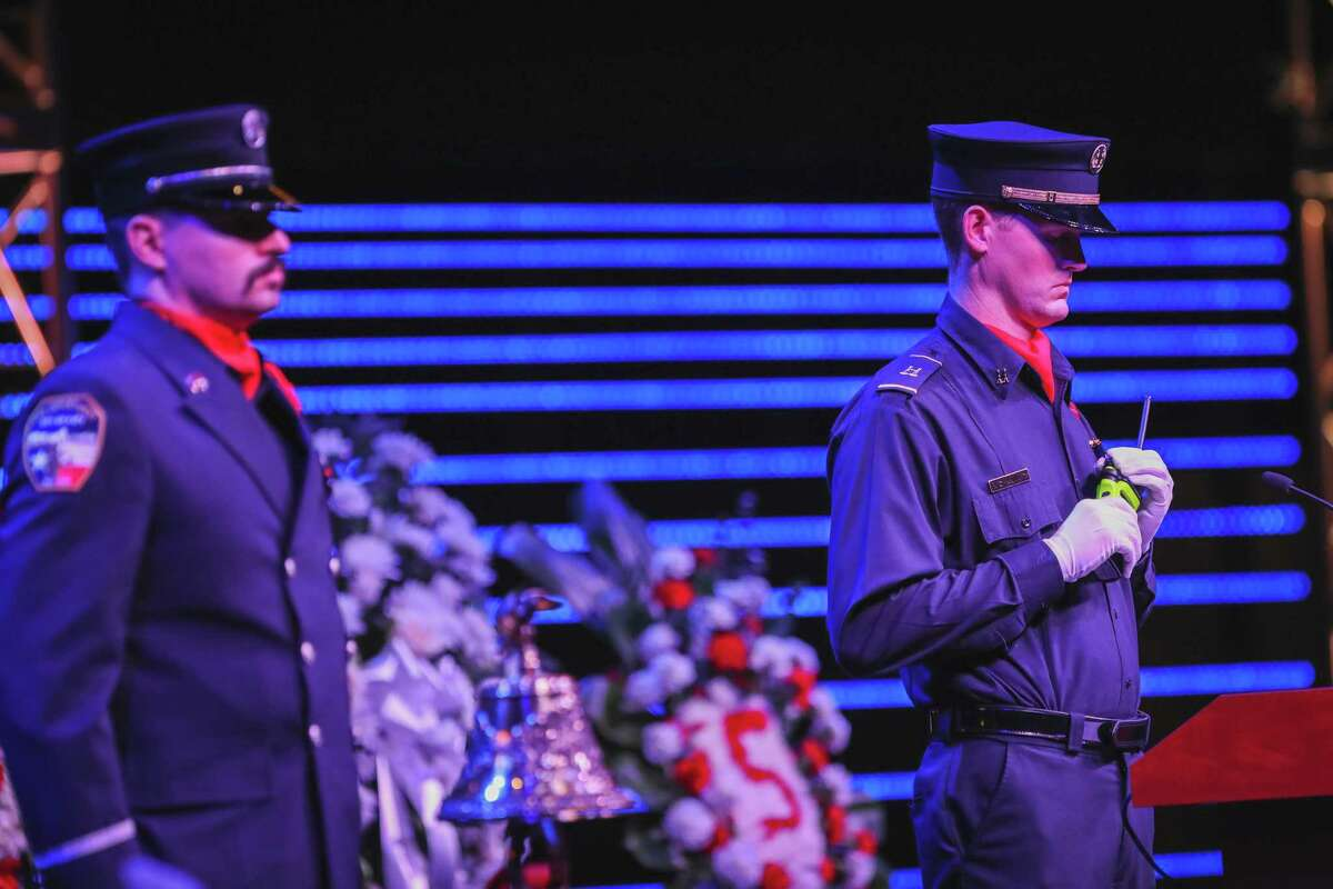 A last call message for late Cy-Fair Fire Dept. Driver Operator Hugo Guevara is broadcast during his service on Thursday, Oct. 7, 2021, at Community of Faith Church in Hockley.