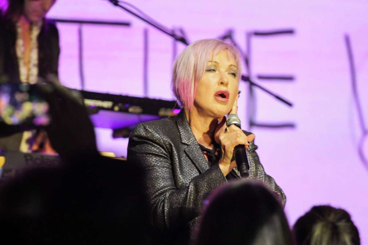 Cyndi Lauper performing at Houston Children's Charity gala at the Post Oak Hotel in Houston on October 8, 2021.