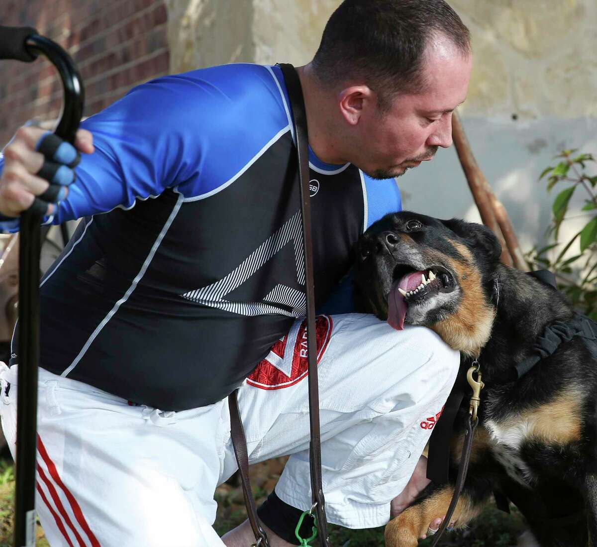 Retired Army Sgt. 1st Class Jaime Leon is one of more than 700 military veterans paired with a dog trained by K9s for Warriors to help veterans with PTSD and military-related trauma. Leon's dog, a German shepherd-Rottweiler mix named Shadow, has helped lower his anxiety since they were matched together seven years ago.