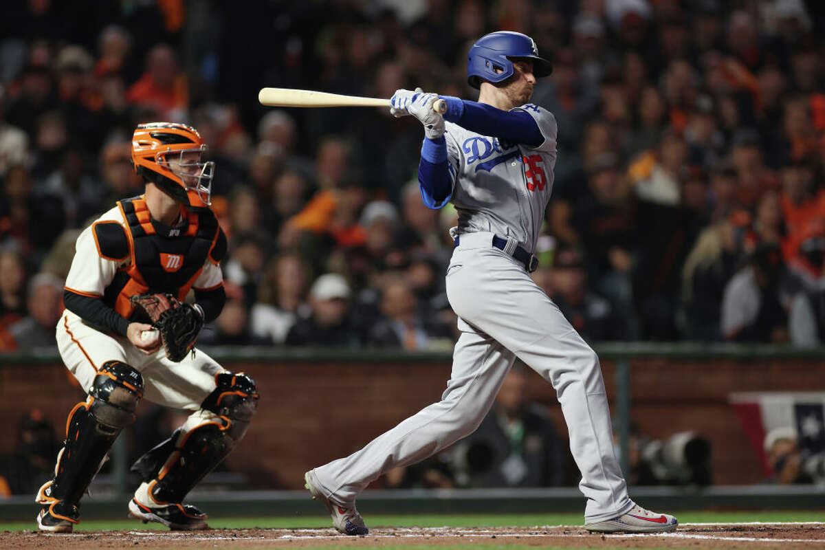 Cody Bellinger of the Los Angeles Dodgers strikes out against the San Francisco Giants during the second inning of Game 1 of the National League Division Series at Oracle Park on Oct. 8, 2021 in San Francisco.