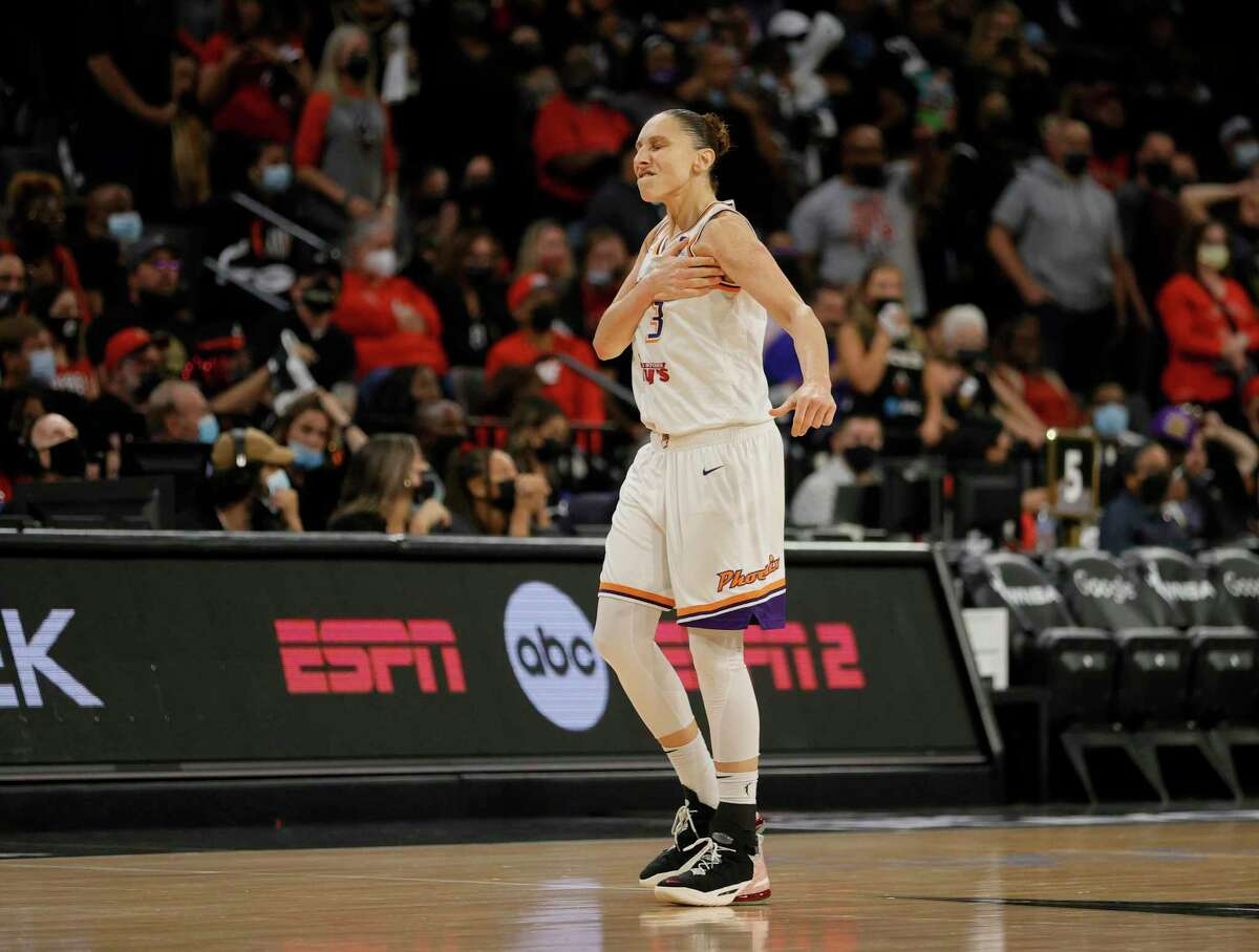 The Mercury's Diana Taurasi reacts after hitting a 3-pointer against the Las Vegas Aces late in Game 5 of the WNBA semifinals on Friday.