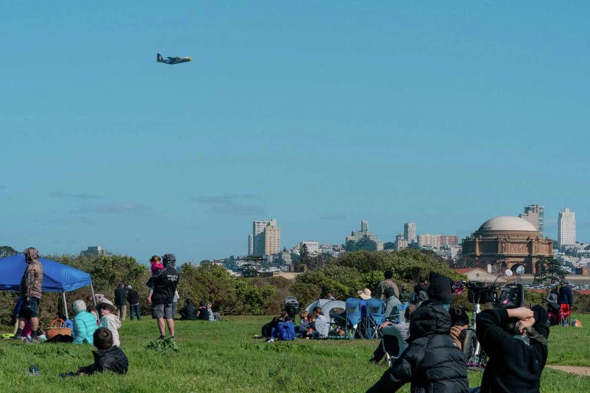 "A U.S. Navy Blue Angels C-130 nicknamed ""Fat Albert"" flies over Criss Field during Fleet Week in San Francisco, Calif., on Friday, October 8, 2021."