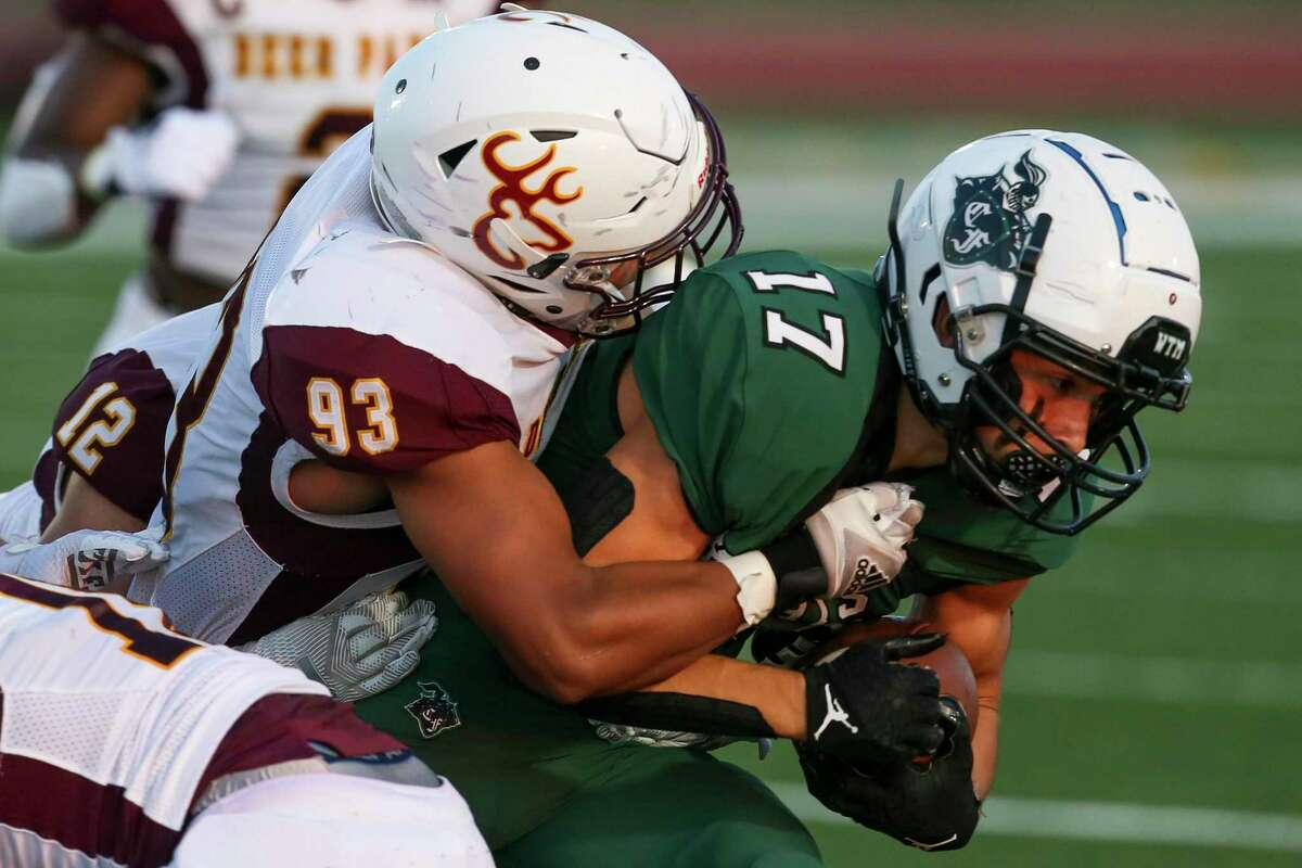 Luke Vidal (17) and the rest of the Clear Falls Knights took a 48-35 win over Clear Springs Friday night, the first victory for the Knights in 10 meetings with the Chargers.