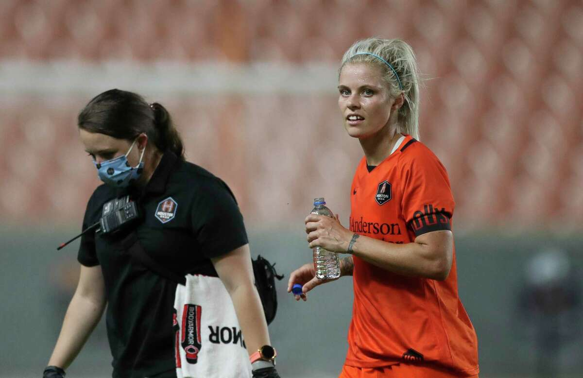 Houston Dash forward Rachel Daly (3) gets up after having a collision with a Racing Louisville FC player during the second half of the NWSL match Sunday, Aug. 29, 2021, at BBVA Stadium in Houston. Houston Dash defeated Racing Louisville FC 1-0.