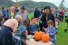 Pumpkin decorating was one of the many activities at Frankfort's weekend of Fall Fest. (Colin Merry/Record Patriot)