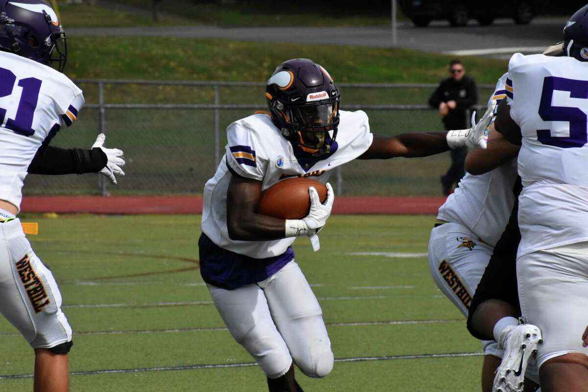 Westhill's David Moodie runs the ball during the football game between Trumbull and Westhill at McDougall Field, Trumbull on Saturday, Oct. 9, 2021.