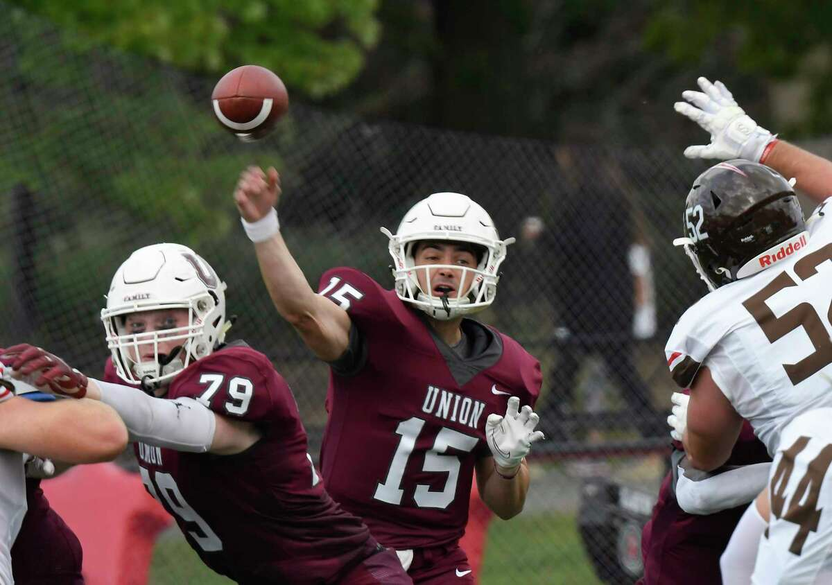 Union quarterback William Bellamy (15) throws a pass against St.Lawrence during the first half of an NCCA football game Saturday, Oct. 9, 2021, in Schenectady, N.Y. (Hans Pennink/Special to the Times Union) ORG XMIT: 101021_unionfb_HP102