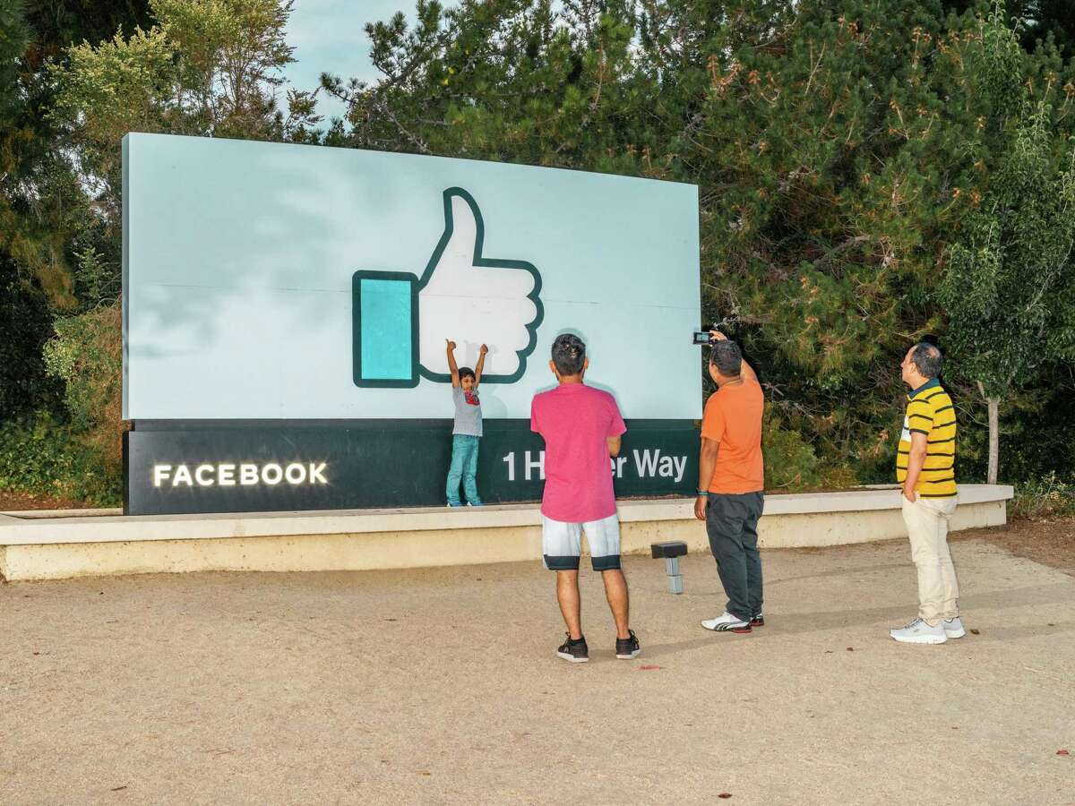 Outside Facebook headquarters in Menlo Park, Cali., on Sept. 9, 2021. The Facebook outage on Monday, Oct. 4, 2021, was a planetary-scale demonstration of how essential the company's services have become to daily life. (Kelsey McClellan/The New York Times)