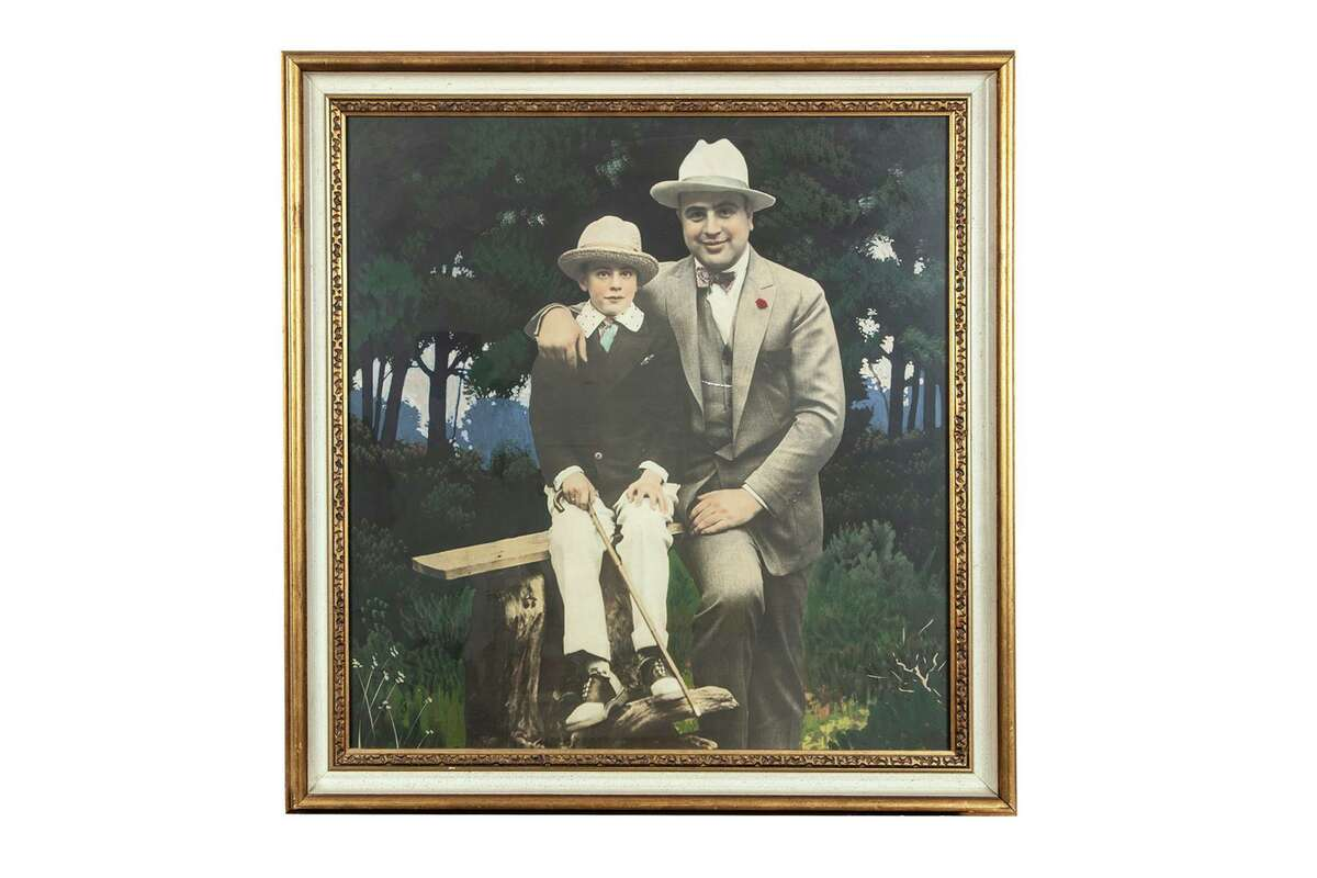 A hand-colored silver print of Al Capone and his son, Sonny, was one of the items auctioned on Oct. 8 at Witherell's, an auction house in Sacramento.