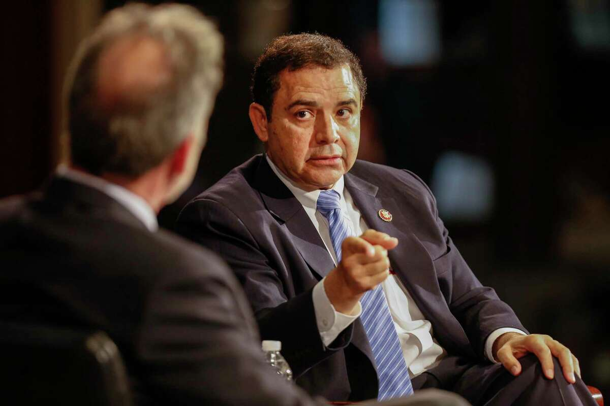 Rep. Henry Cuellar participates in an armchair discussion at Rice University in 2019.