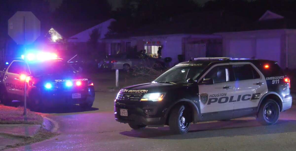 Police at the scene where a person was found stabbed Oct. 9, 2021, in Alief.