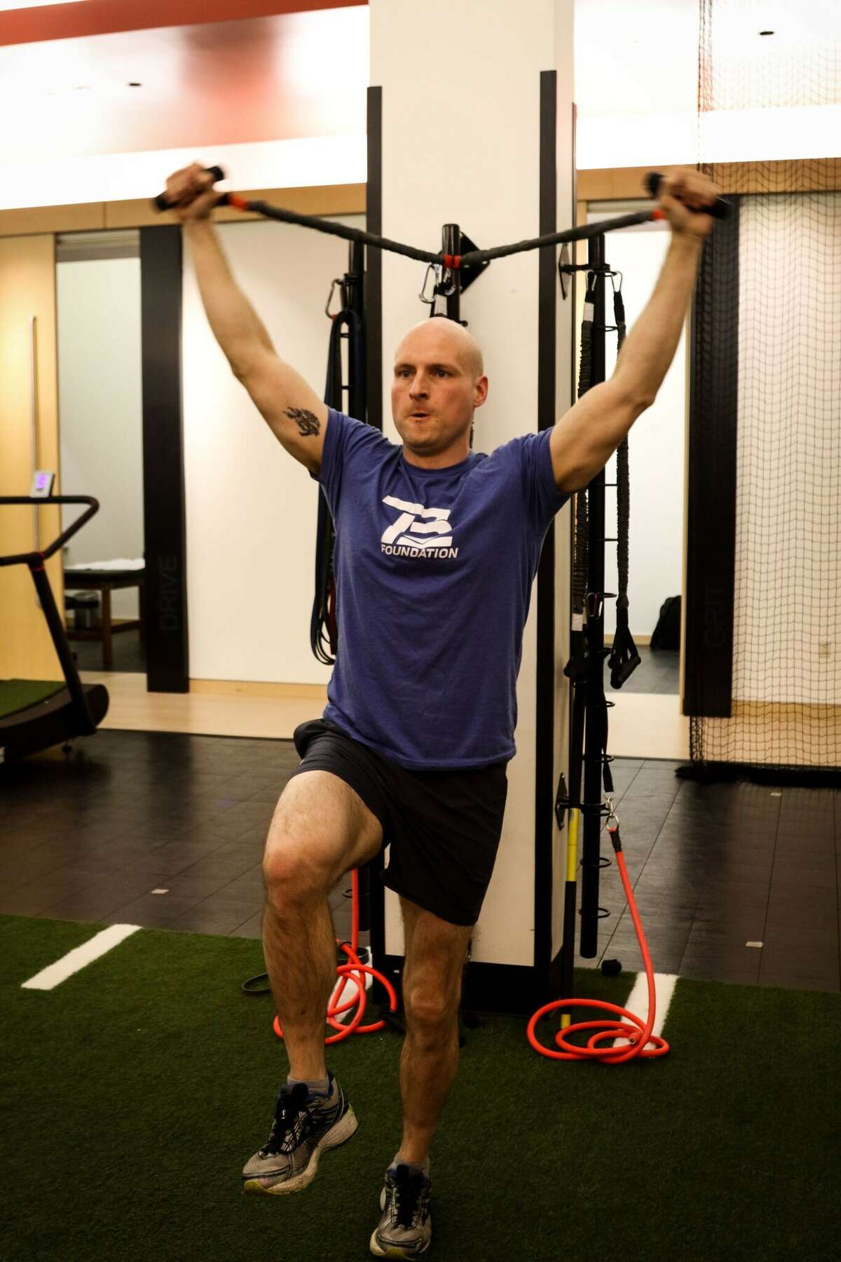 Former La Salle Institute and Union College football player Kevin Flike works out at TB12 in Foxborough, Mass.