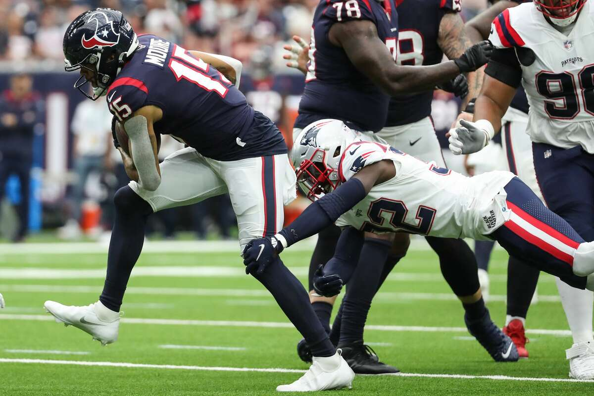 After being elevated from the practice squad. Chris Moore had a career game in Sunday's loss to the Patriots.
