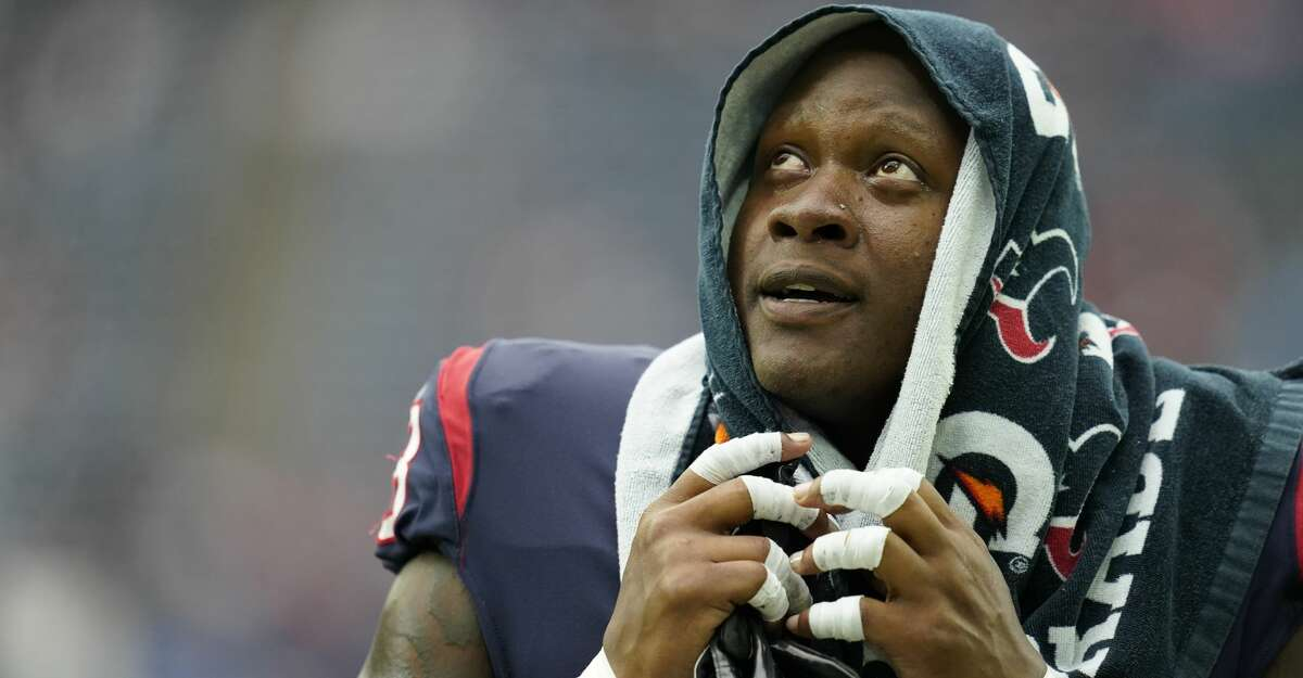 Houston Texans offensive lineman Laremy Tunsil (78) during pregame warmups before an NFL football game against the New England Patriots, Sunday, Oct. 10, 2021, in Houston. (AP Photo/Matt Patterson)
