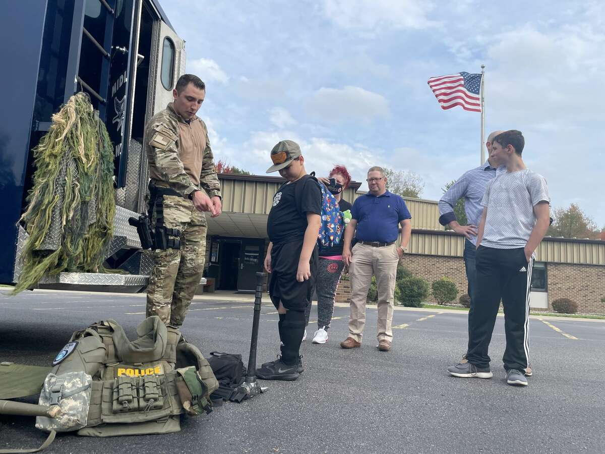 The Midland Police Department brought a SWAT bus to the Calvary Baptist Church for the National Faith & Blue event on Sunday, Oct. 10.