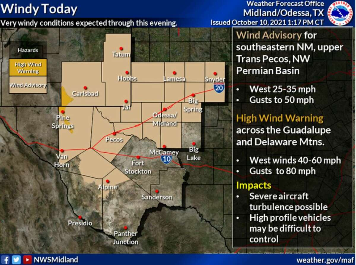 Strong, gusty winds will impact the Guadalupe and Delaware Mountains tomorrow afternoon. Expect westerly sustained winds of 40-60 mph with gusts up to 80 mph. Very windy conditions are expected across many other low lying locations with sustained winds of 25-35 mph with gusts to 50 mph. A High Wind Warning and Wind Advisory will be in effect from 6AM MDT/7AM CDT to 9PM MDT/10PM CDT Sunday.