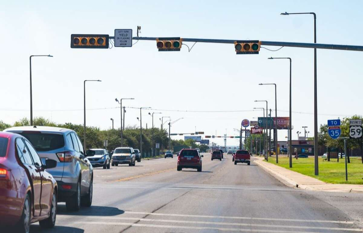 A traffic light in front of Laredo Medical Center is without power, while others operate normally, Sunday Oct. 10, 2021, during an power outage affecting thousands of residents in central Laredo.