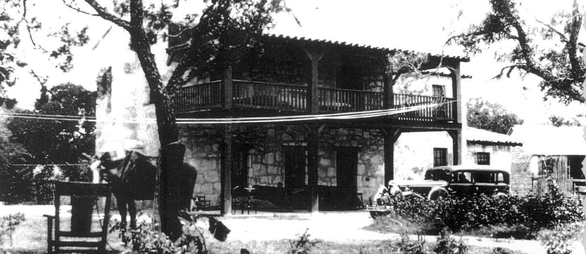 Rumors persist that Joseph Huebner still haunts the site of the Huebner-Onion Homestead and Stagecoach Stop, which he built in 1862 in Leon Valley. This photo of the site was taken around 1930.