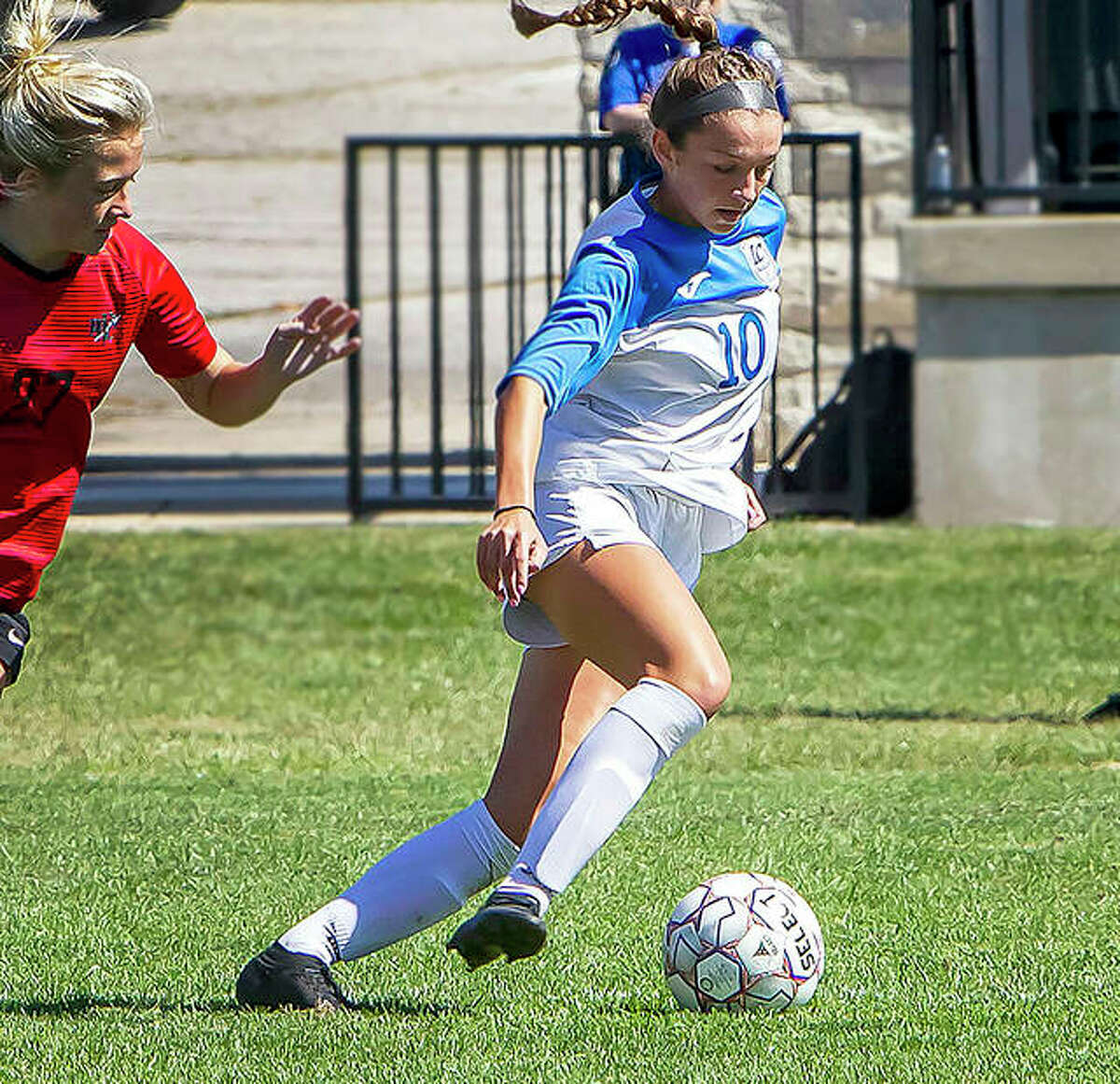Grace Osvath of Lewis and Clark Community College (10) scored four goals in the Trailblazers' 11-0 victory at Kankakee College Sunday.