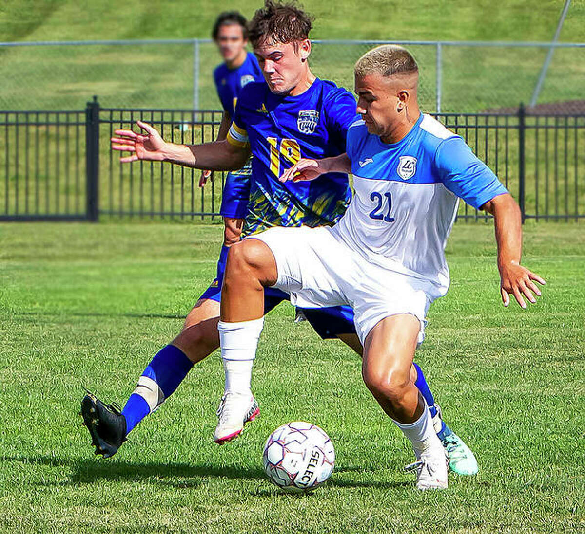 LCCC's Eduardo Rodriguez (21) scored a pair of first-half goals and helped the Trailblazers to a 4-1 win at Kankakee College Sunday. The 13th-ranked LCCC men are 10-3 on the season.