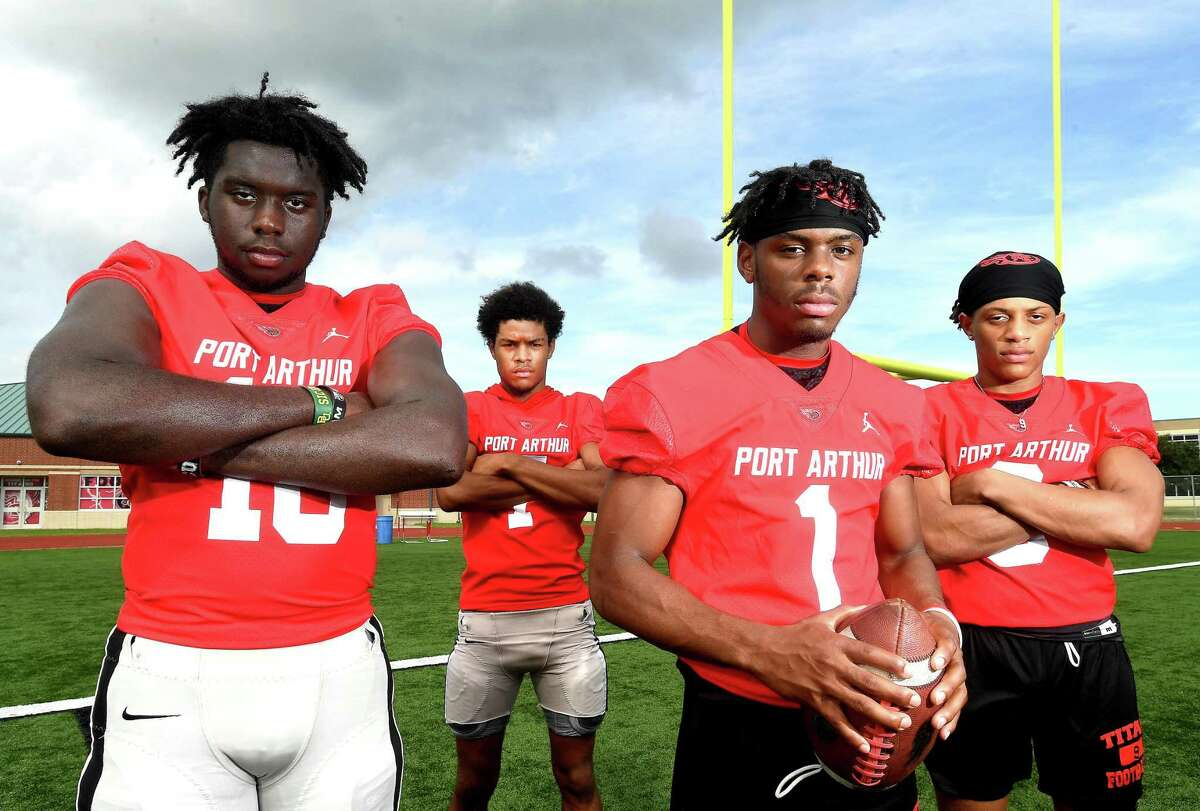 Port Arthur Memorial's (from left) Christian Thomas, Devaun Davenport, Jah'mar Sanders and Ilijah Williams are hoping to take the Titans to the next level coming off a district championship win last season. Photo made Monday, August 9, 2021 Kim Brent/The Enterprise