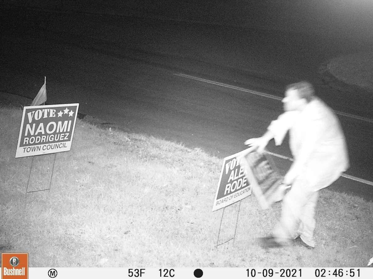 Ledyard Police are asking for help identifying an individual who stole campaign signs on Saturday.