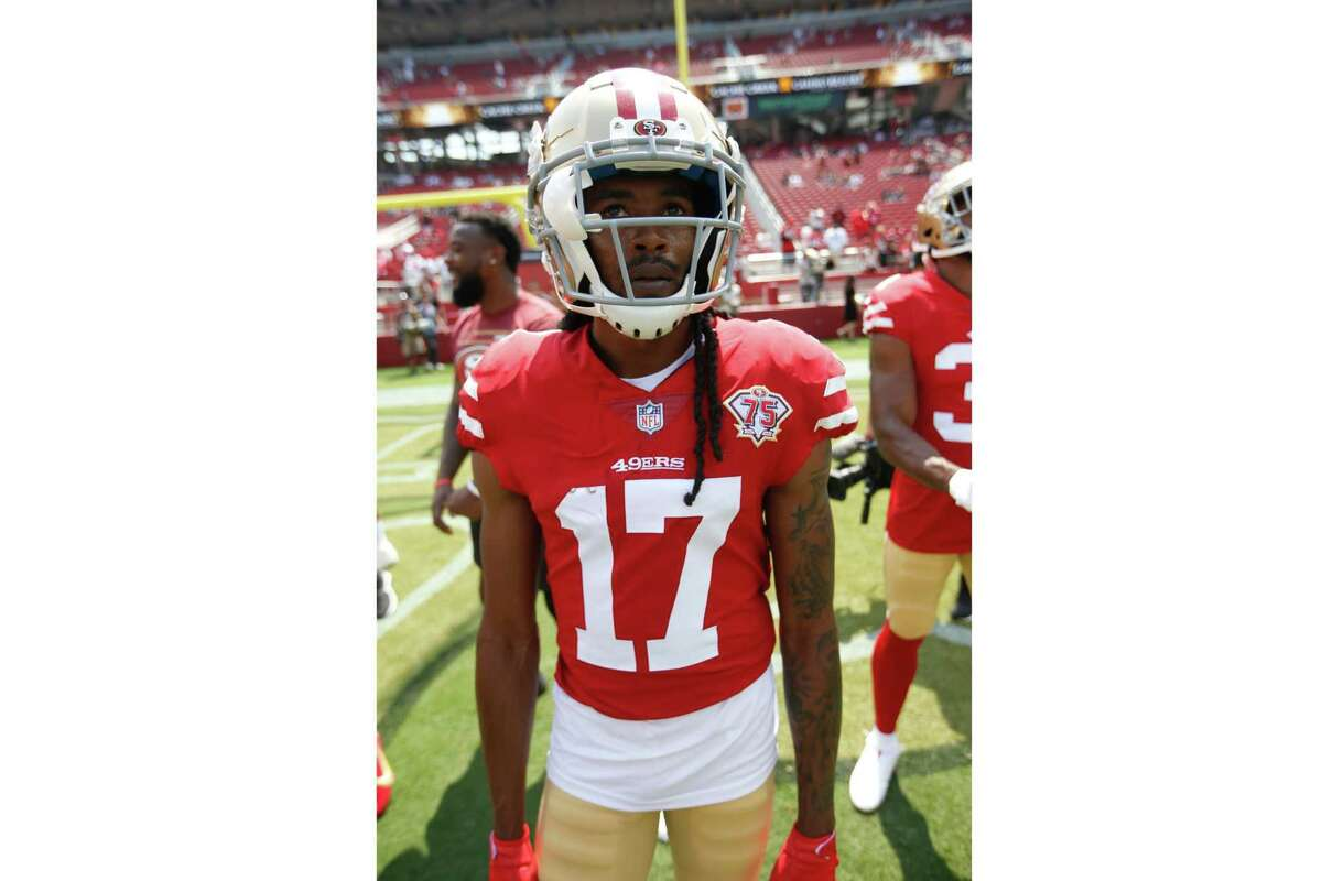 SANTA CLARA, CA - AUGUST 29: Travis Benjamin #17 of the San Francisco 49ers on the field before the game against the Las Vegas Raiders at Levi's Stadium on August 29, 2021 in Santa Clara, California. The 49ers defeated the Raiders 34-10. (Photo by Michael Zagaris/San Francisco 49ers/Getty Images)