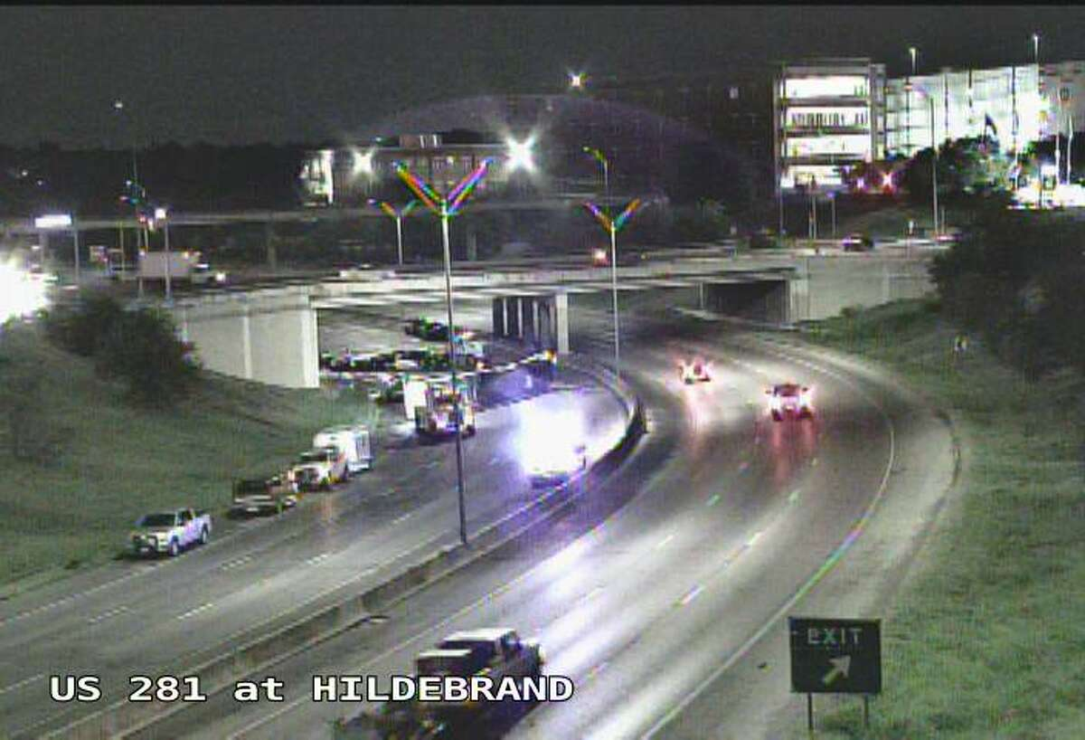 The southbound lanes of U.S. 281 near Hildebrand are closed after an 18-wheeler crash.