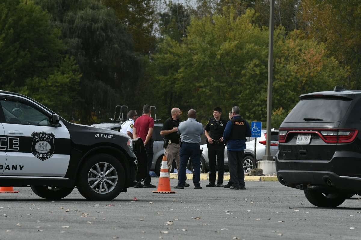 Albany police investigate a threat to the Jewish Community Center on Monday. U.S. Representatives Paul Tonko and Hakeem Jeffries were expected to hold a news conference before the threat was made.