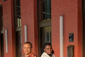 Actresses Barbara Howard, left, andSade Thompson in front of Capitol Repertory Theatre on Friday, Oct. 8. (Jean-Remy Monnay)