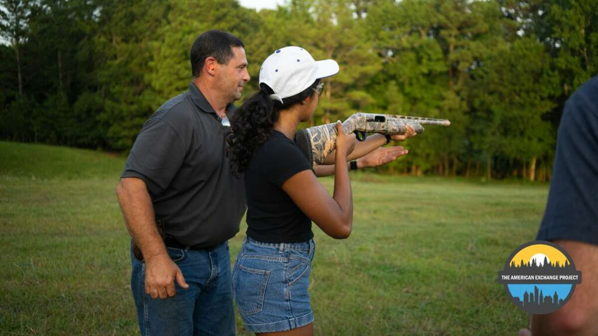 Students staying in Kilgore, Texas had the opportunity to try skeet shooting.