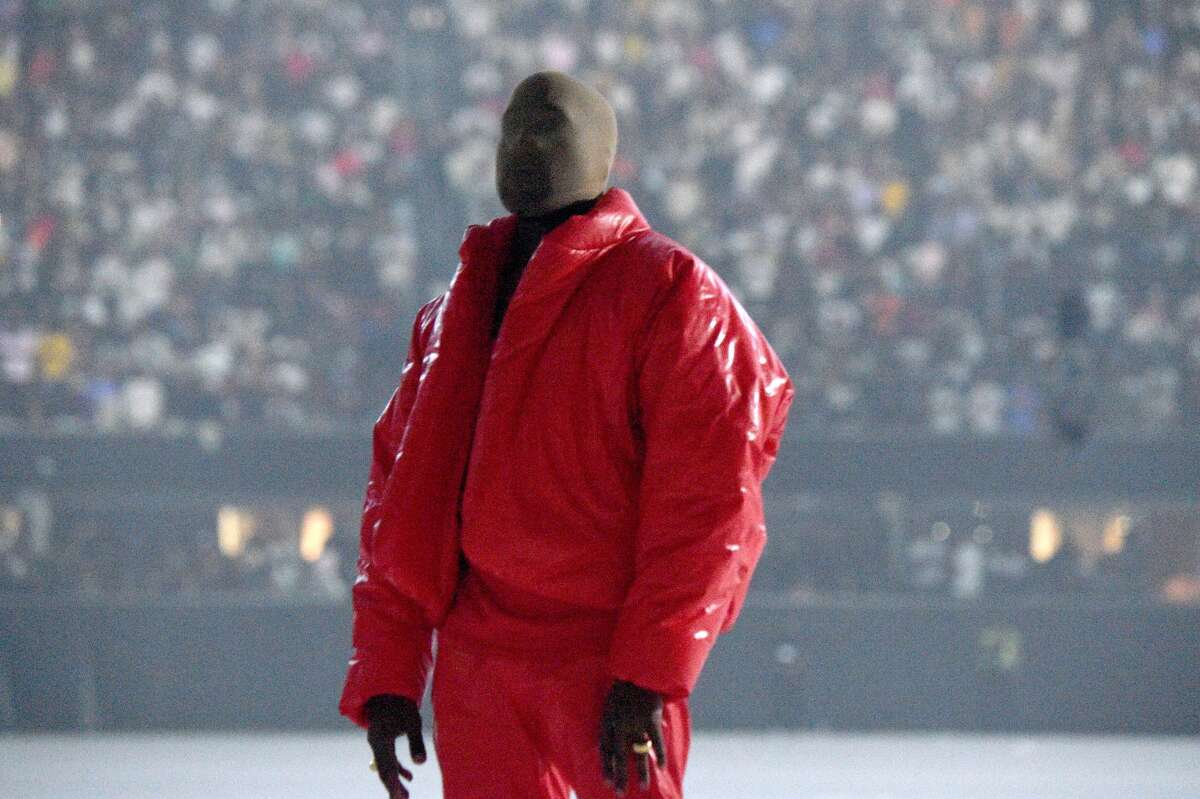 Kanye West is seen at the DONDA listening event at Mercedes-Benz Stadium on July 22, 2021 in Atlanta, Georgia.