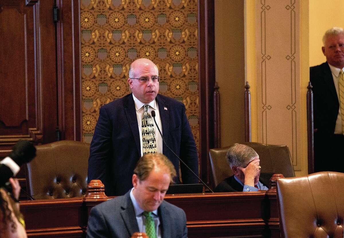 Former state Sen. Sam McCann speaks in 2017 on the Senate floor at the Capitol.