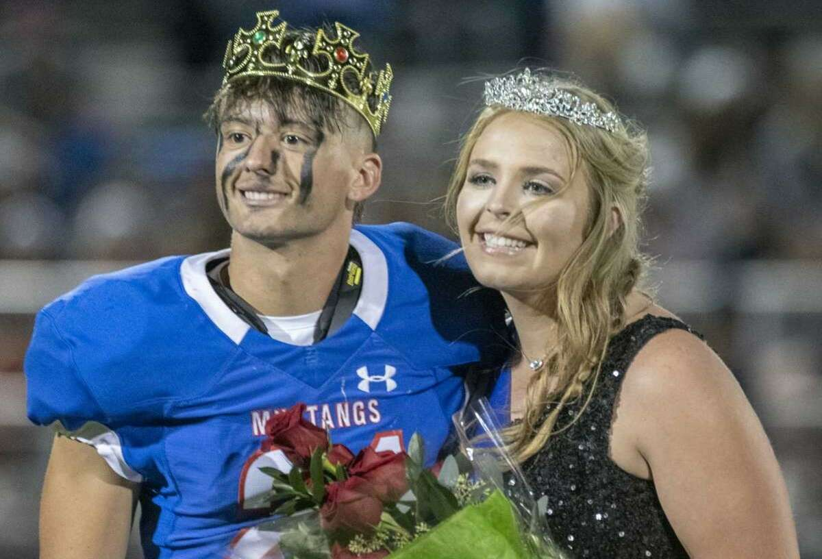 Midland Christian homecoming King and Queen, Dylan Maes and Tatum Fleming 10/08/2021 at Gorgon Awtry Field. Tim Fischer/Reporter-Telegram