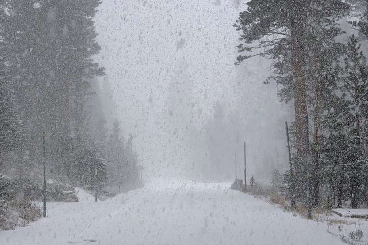 Snow at 7,800 feet at Kirkwood Meadows on Oct. 11, 2021.