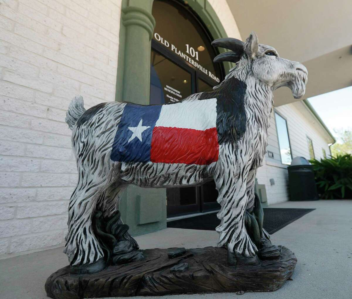 A goat statue is seen in front of Montgomery City Hall, Tuesday, Oct. 5, 2021. The city is selling statues, poured from the same mold as the original in downtown, to help promote the city new-look logo and emphasizes the town's goodwill toward visitors, born from the 1906 legend of Monty the Goat. The city is holding its first ever fall festival Saturday in downtown historic Montgomery - a day full of live music, fall crafts and unique foods.
