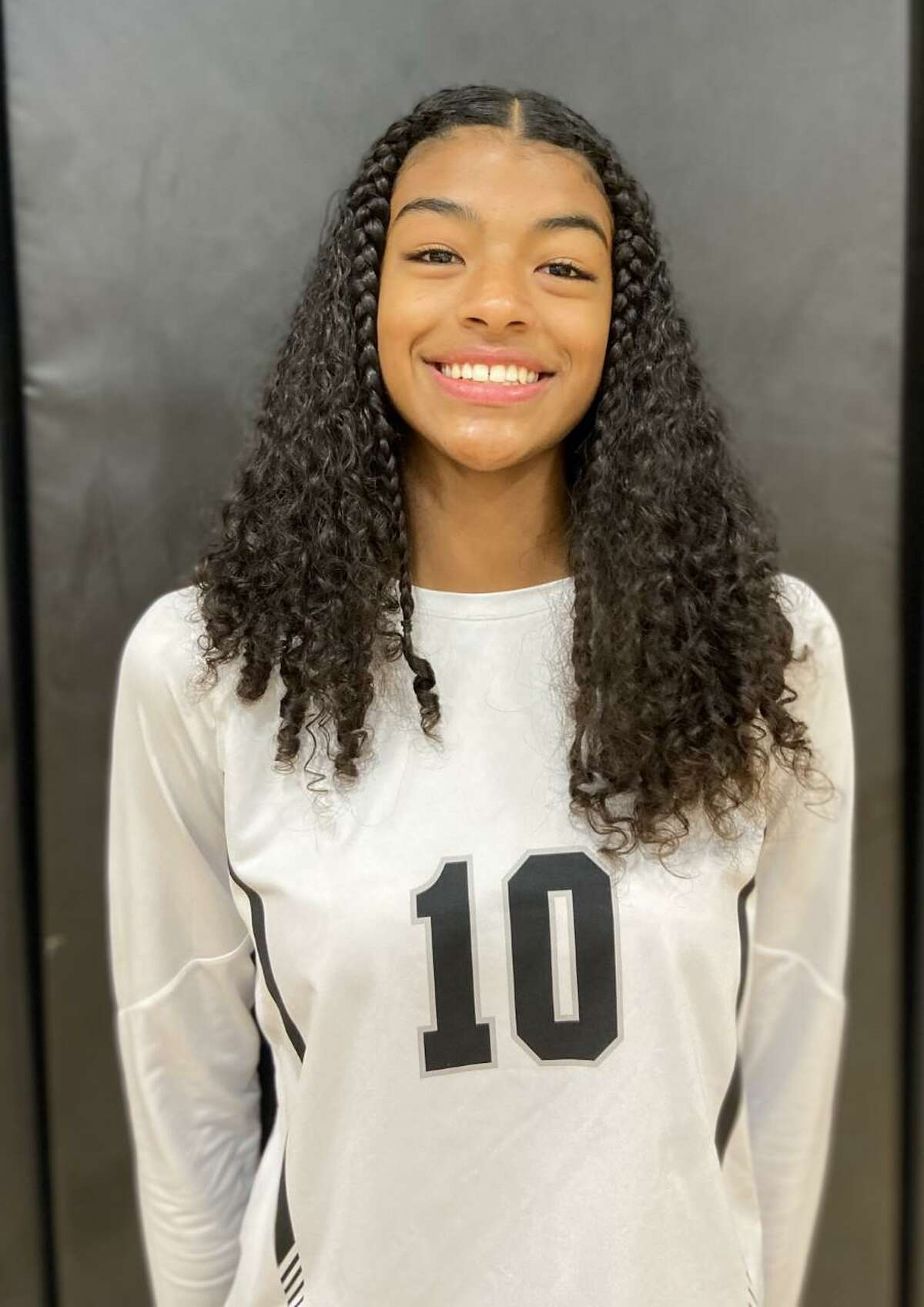 Arianna Roberson is a sophomore middle blocker for Clark.