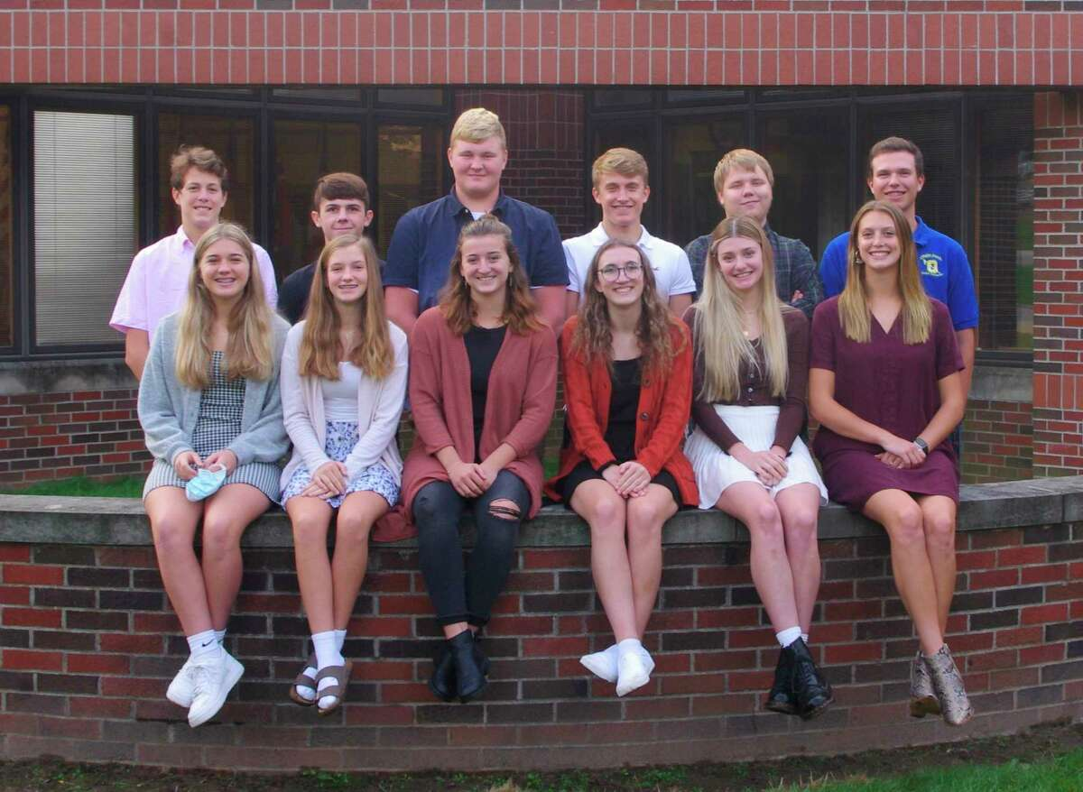 Onekama High School's homecoming court are pictured (front row, from left)freshmen class representative Jayla Fink;sophomore representative Ashlyn Blackmore; junior representative Abigail Pruyne; and queen candidatesMacy Wallace,Mairin McCarthy andSophie Wisniski; and (back row, from left) freshmen representativeTravis Lapp; sophomore representative Reece Tiel; juniorrepresentative Adam Domres; and king candidatesAlec Tabaczka,Dominick Moody andEthan Walker. (Courtesy photo)