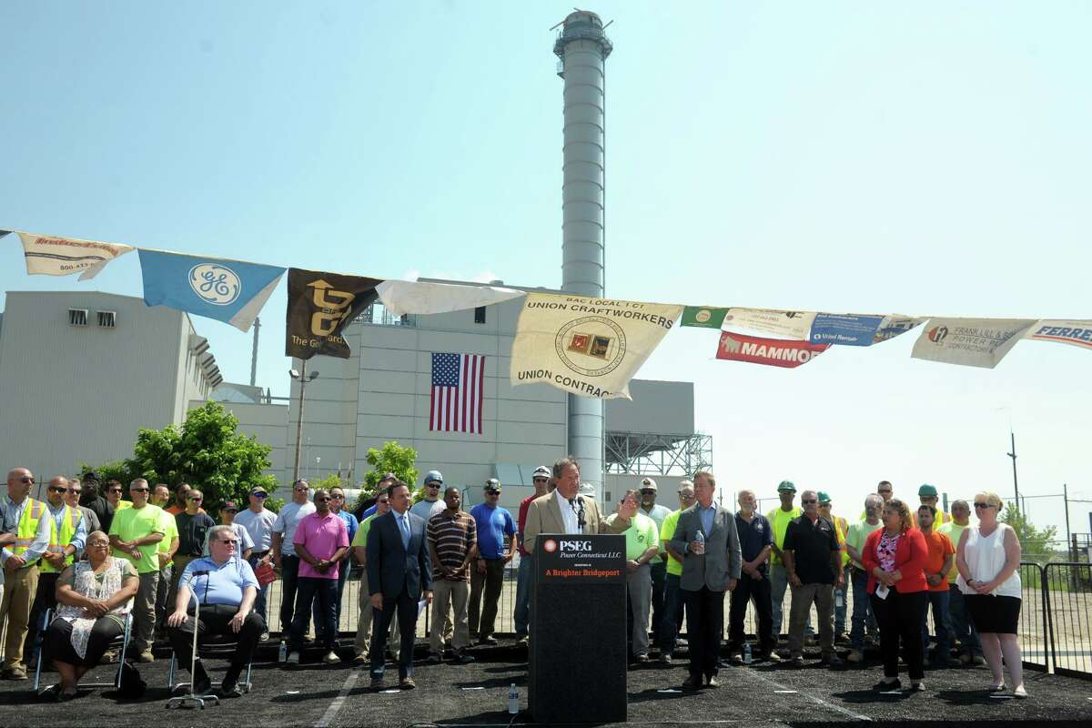 The July 2019 opening ceremony for an electricity generator at PSEG's Bridgeport Harbor Station.
