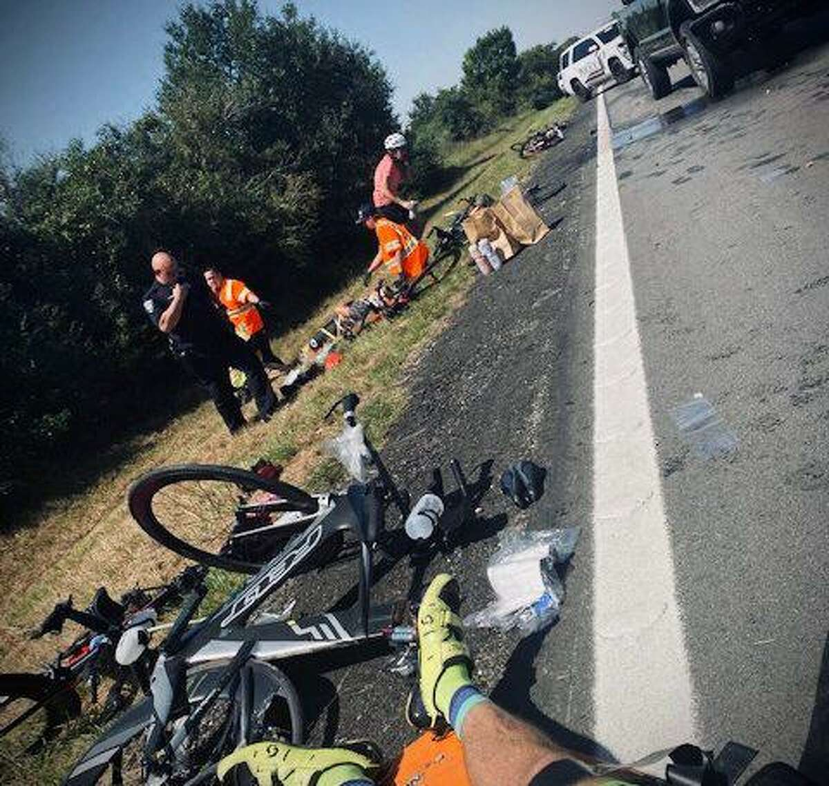 Six bicyclists were injured Sept. 25, 2021, in Waller, Texas, when witnesses say a pickup driver, 16, was intentionally blowing exhaust on them during a training ride.