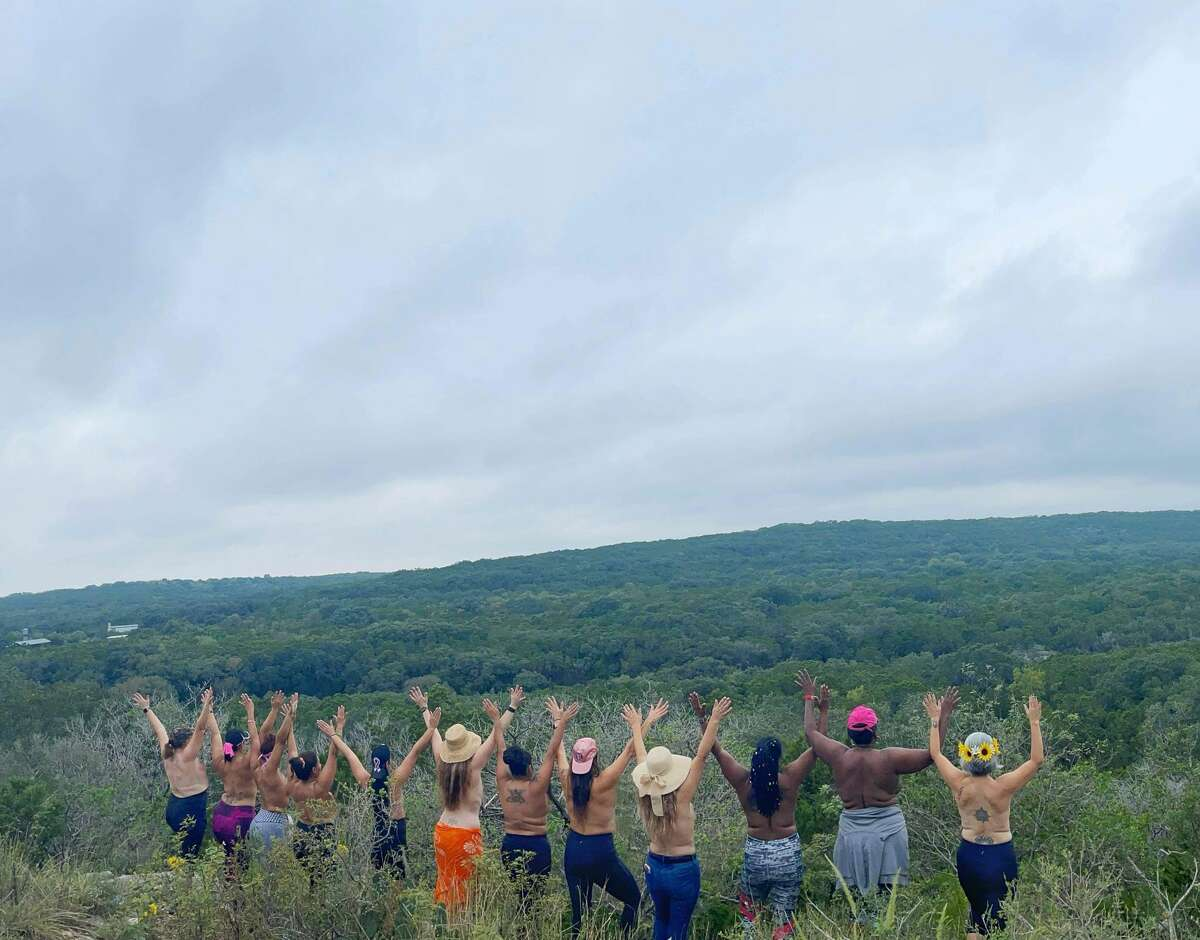 Local Hiking Heroes group organized the hike to support breast cancer awareness month.