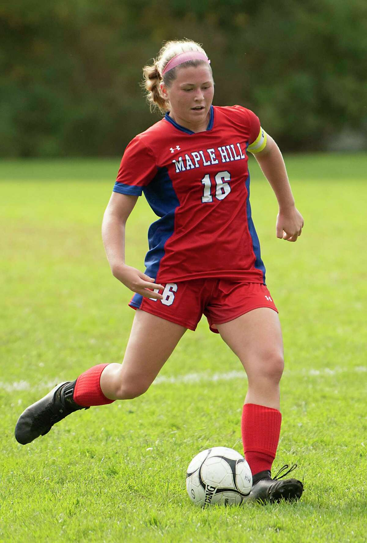 Maple Hill's Alayna Fletcher kicks the ball during a soccer game against Cambridge on Monday, Oct, 11, 2021 in Schodack, N.Y.