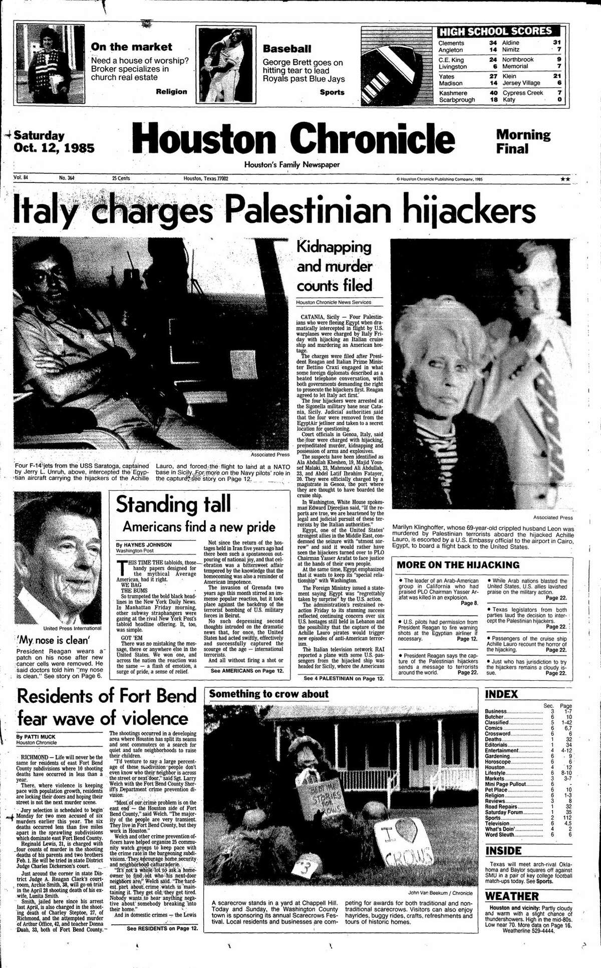 Houston Chronicle front page from Oct. 12, 1985.